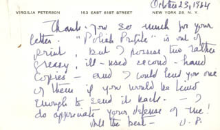 VIRGILIA PETERSON - AUTOGRAPH LETTER SIGNED 10/23/1964