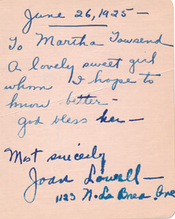 JOAN LOWELL - AUTOGRAPH NOTE SIGNED 06/26/1925