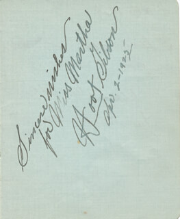 HOOT (EDMUND) GIBSON - AUTOGRAPH NOTE SIGNED 04/02/1925