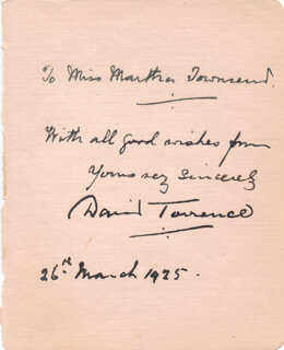 DAVID TORRANCE - AUTOGRAPH NOTE SIGNED 03/26/1925