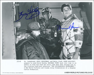 THE PHILADELPHIA EXPERIMENT MOVIE CAST - PRINTED PHOTOGRAPH SIGNED IN INK CO-SIGNED BY: MICHAEL PARE, KENE HOLLIDAY