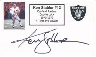 KEN SNAKE STABLER - PRINTED CARD SIGNED IN INK