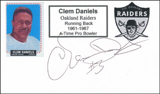CLEM DANIELS - PRINTED CARD SIGNED IN INK