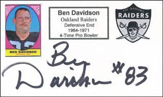 BEN DAVIDSON - PRINTED CARD SIGNED IN INK