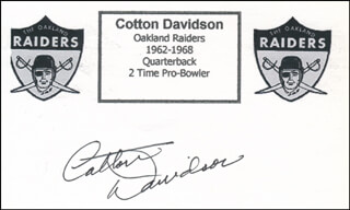 COTTON DAVIDSON - PRINTED CARD SIGNED IN INK
