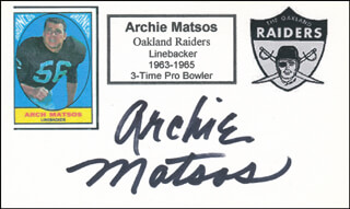 ARCHIE MATSOS - PRINTED CARD SIGNED IN INK