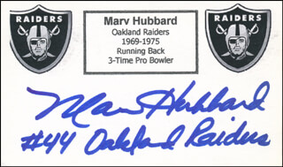 MARV HUBBARD - PRINTED CARD SIGNED IN INK