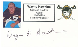 WAYNE A. HAWKINS - PRINTED CARD SIGNED IN INK