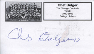 CHET BULGER - PRINTED CARD SIGNED IN INK