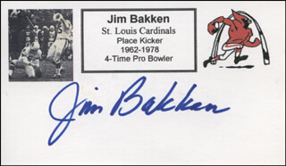 Autographs: JIM BAKKEN - PRINTED CARD SIGNED IN INK