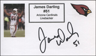 JAMES DARLING - PRINTED CARD SIGNED IN INK