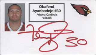 Autographs: OBAFEMI AYANBADEJO - PRINTED CARD SIGNED IN INK
