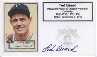 TED BEARD - PRINTED CARD SIGNED IN INK