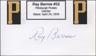 RAY (RAYMOND) BERRES - PRINTED CARD SIGNED IN INK