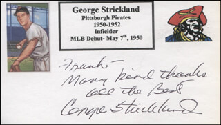 GEORGE BO STRICKLAND - AUTOGRAPH NOTE SIGNED