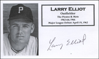 LARRY ELLIOT - PRINTED CARD SIGNED IN INK