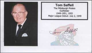 TOM SAFFELL - PRINTED CARD SIGNED IN INK