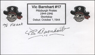 VIC BARNHART - INSCRIBED PRINTED CARD SIGNED IN INK