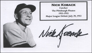 NICK KOBACK - PRINTED CARD SIGNED IN INK