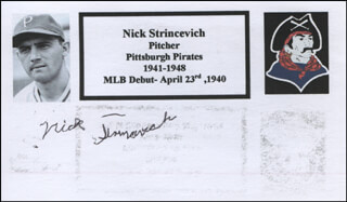 NICK STRINCEVICH - PRINTED CARD SIGNED IN INK