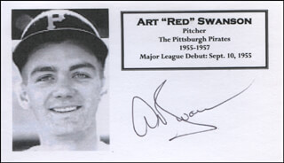 RED SWANSON - PRINTED CARD SIGNED IN INK