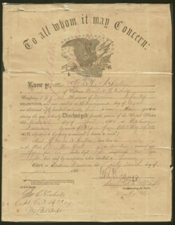 MARSHALL C. NICHOLS - LAMINATED DOCUMENT SIGNED 06/29/1865 CO-SIGNED BY: CIVIL WAR - UNION, G. R. GIDDEY