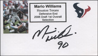 MARIO WILLIAMS - PRINTED CARD SIGNED IN INK