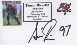 SIMEON RICE - PRINTED CARD SIGNED IN INK