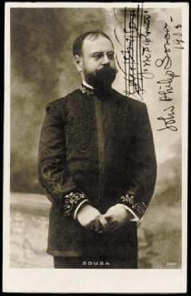 JOHN PHILIP THE MARCH KING SOUSA - AUTOGRAPH MUSICAL QUOTATION ON PHOTO SIGNED 1905
