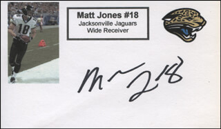 MATT JONES - PRINTED CARD SIGNED IN INK