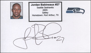 Autographs: JORDAN BABINEAUX - PRINTED CARD SIGNED IN INK