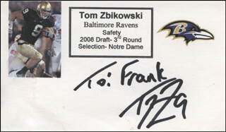 TOM ZBIKOWSKI - AUTOGRAPH NOTE SIGNED