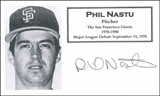 Autographs: PHIL NASTU - PRINTED CARD SIGNED IN INK