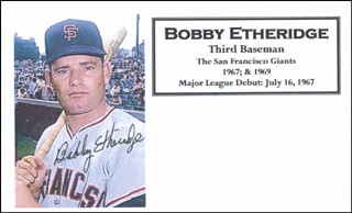 BOBBY ETHERIDGE - PRINTED CARD SIGNED IN INK