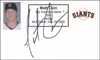 MATT CAIN - PRINTED CARD SIGNED IN INK