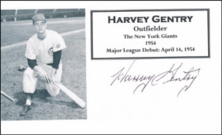HARVEY GENTRY - PRINTED CARD SIGNED IN INK