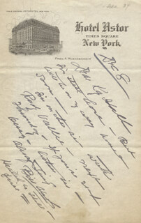 WILLIAM S. HART - AUTOGRAPH LETTER SIGNED 12/08/1934