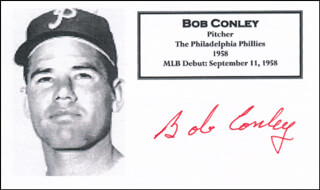 BOB CONLEY - PRINTED CARD SIGNED IN INK