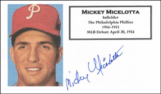 MICKEY MICELOTTA - PRINTED CARD SIGNED IN INK