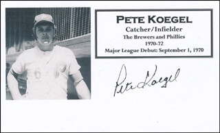 PETE KOEGEL - PRINTED CARD SIGNED IN INK