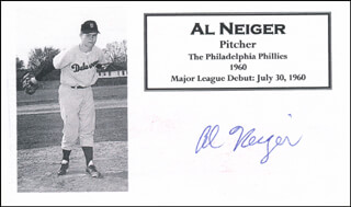 Autographs: AL NEIGER - PRINTED CARD SIGNED IN INK