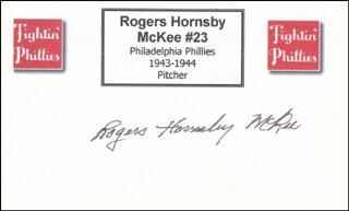 ROGERS HORNSBY MCKEE - PRINTED CARD SIGNED IN INK