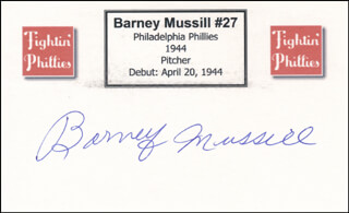 BARNEY MUSSILL - PRINTED CARD SIGNED IN INK