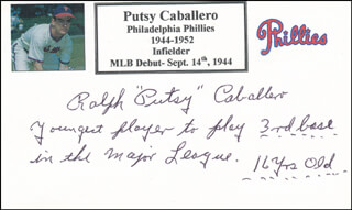 RALPH PUTSY CABALLERO - PRINTED CARD SIGNED IN INK