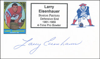 LARRY EISENHAUER - PRINTED CARD SIGNED IN INK