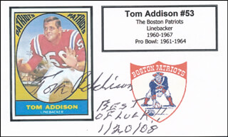TOM ADDISON - AUTOGRAPH SENTIMENT SIGNED