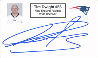 TIM DWIGHT - PRINTED CARD SIGNED IN INK