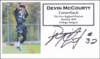 DEVIN MCCOURTY - PRINTED CARD SIGNED IN INK