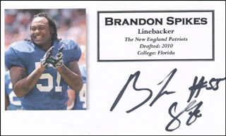 BRANDON SPIKES - PRINTED CARD SIGNED IN INK