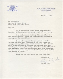 PRESIDENT GEORGE H.W. BUSH - TYPED LETTER SIGNED 04/15/1982